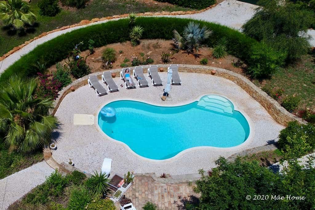 Property rentals Quelfes Olhão Algarve - drone photo of pool